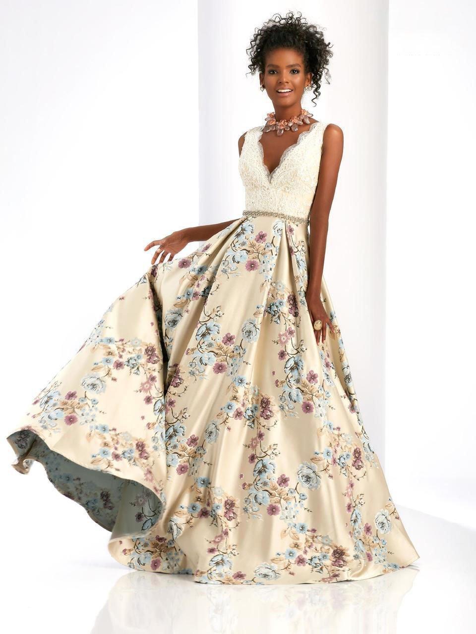 Clarisse - 4973 Lace V-Neck Floral Gown
