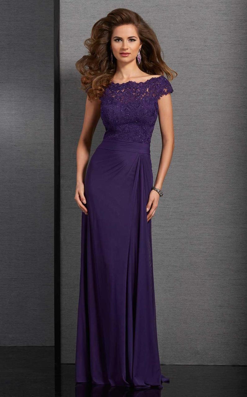 Clarisse - 6318 Bateau Lace Ruched Evening Gown