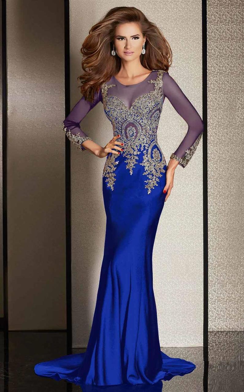 Clarisse - M6203 Embellished Illusion Scoop Dress