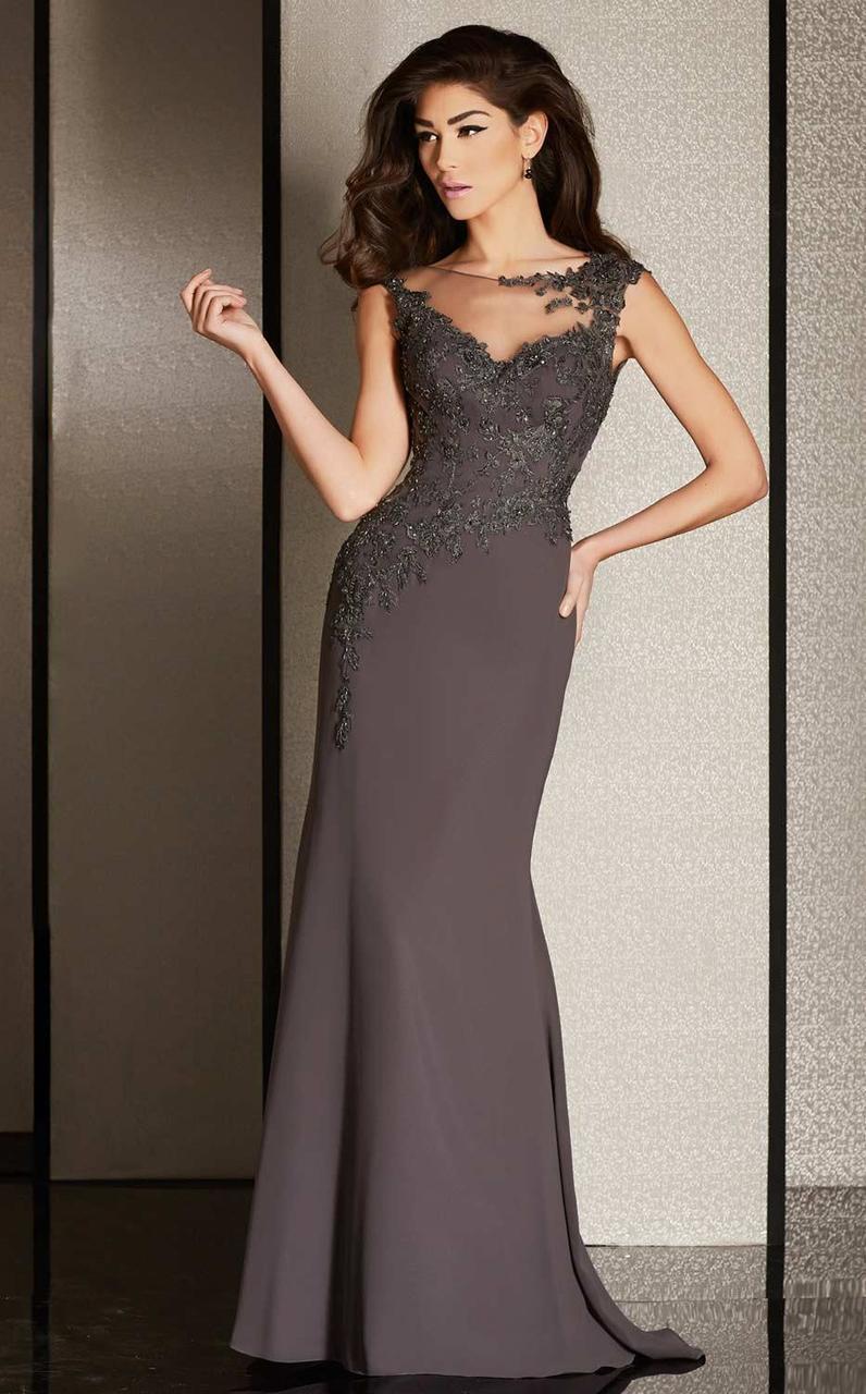 Clarisse - M6240 Applique Illusion Bateau Dress