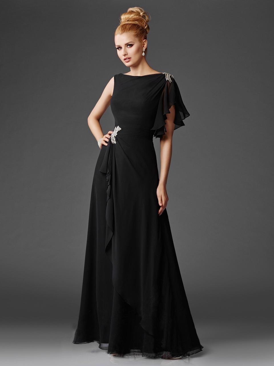 Clarisse - M6401 Chiffon Bateau A-line Dress