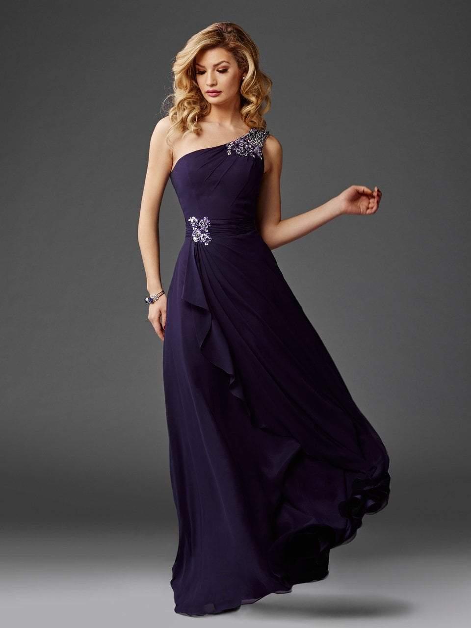 Clarisse - M6403 Draped Ornate Asymmetrical Gown