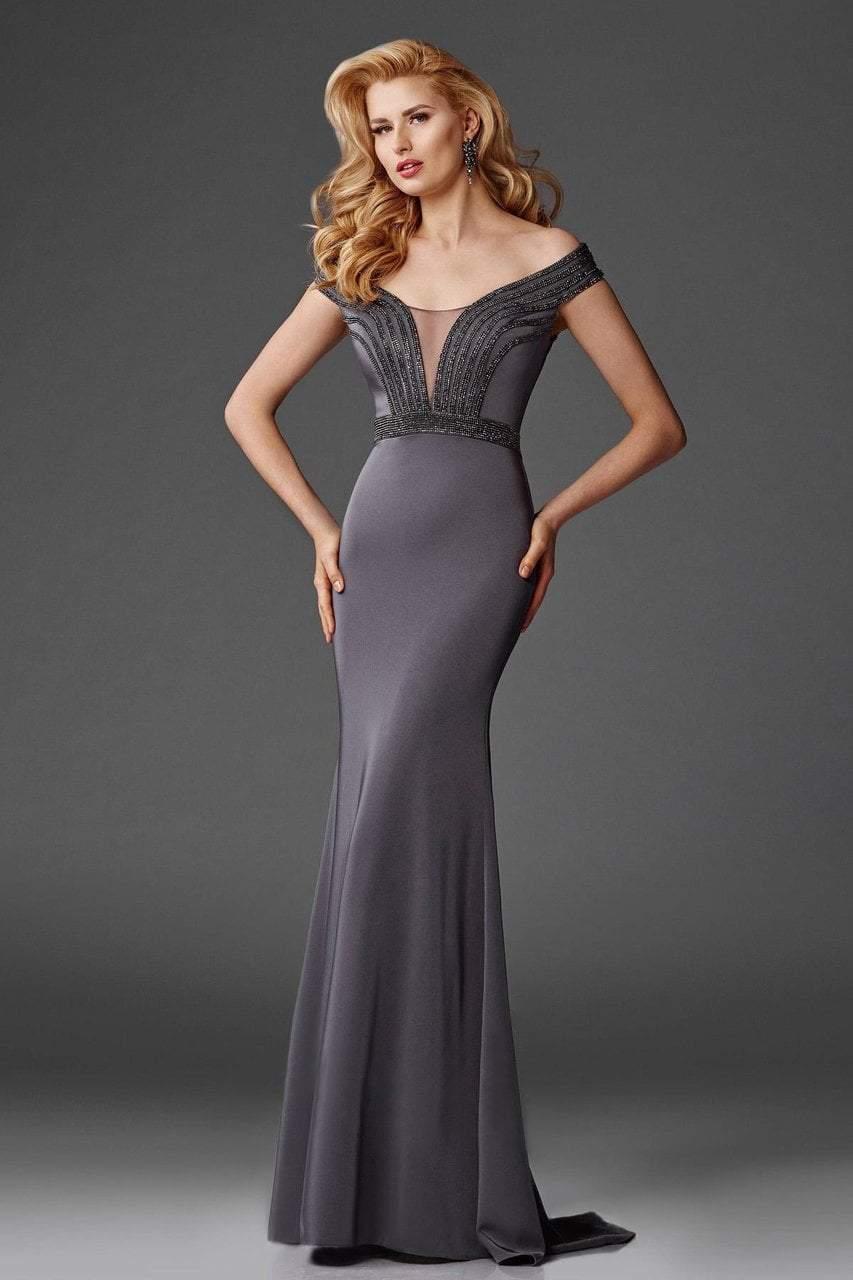 Clarisse - M6418 Off-Shoulder Stretch Satin Evening Gown