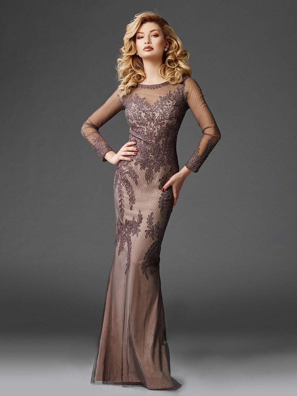 Clarisse - M6425 Longsleeved Soutache Evening Gown