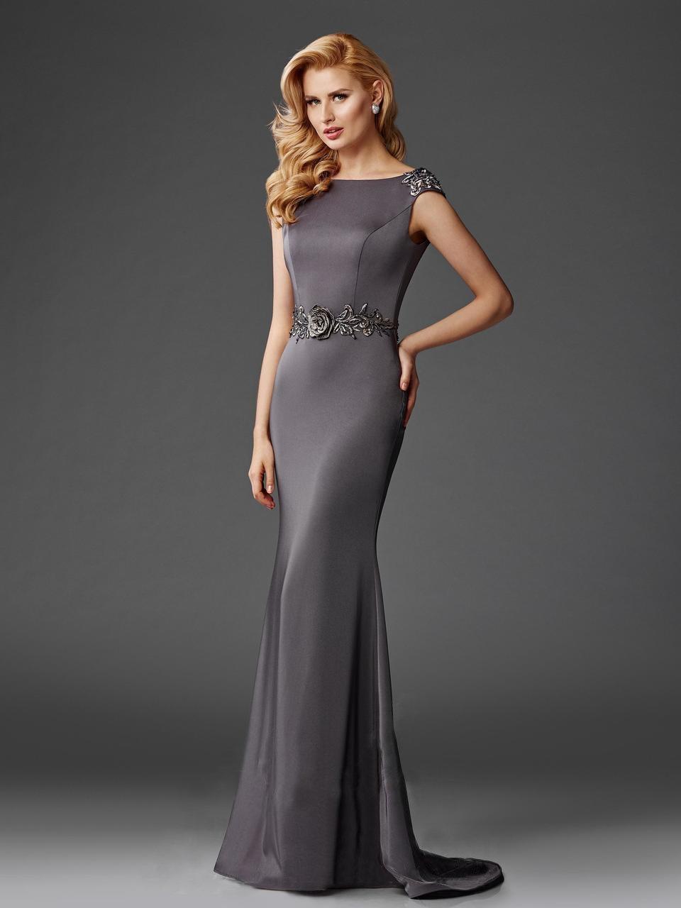 Clarisse - M6447 Bedazzled Bateau Sheath Dress