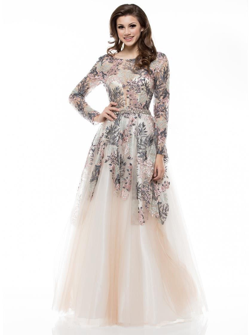 Colors Couture - J034SL Embellished Long Sleeve A-line Dress