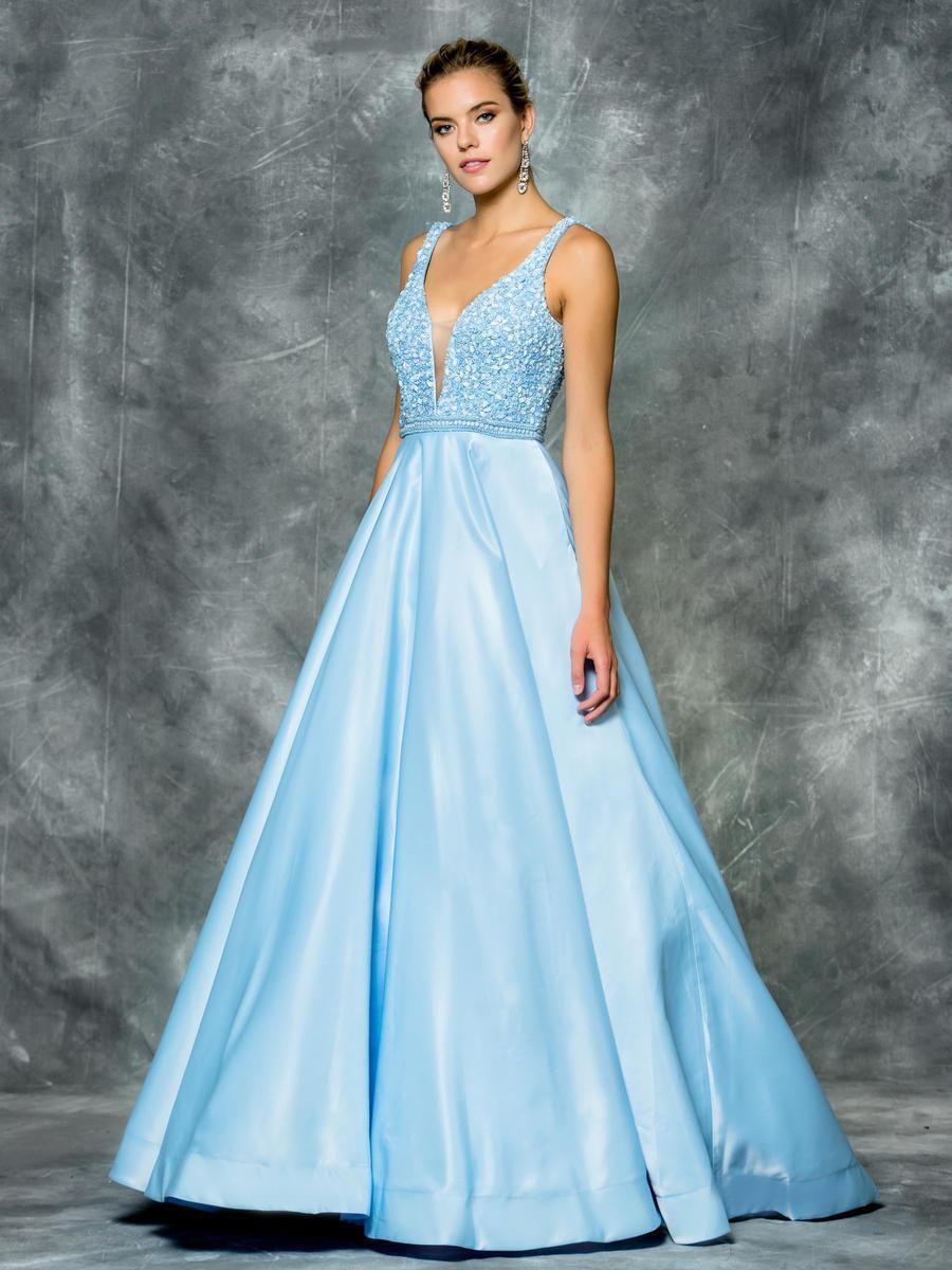 Colors Dress - 1632 Deep V-Neck Ornate Evening Dress