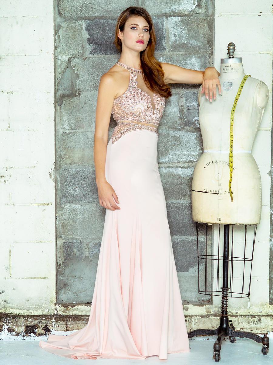 Colors Dress - 1669-1 Shimmering Halter Illusion Evening Dress