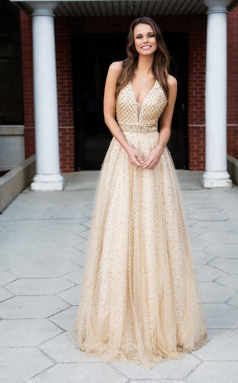 Colors Dress - 1742 Deep V-Neck Glittering Evening Gown