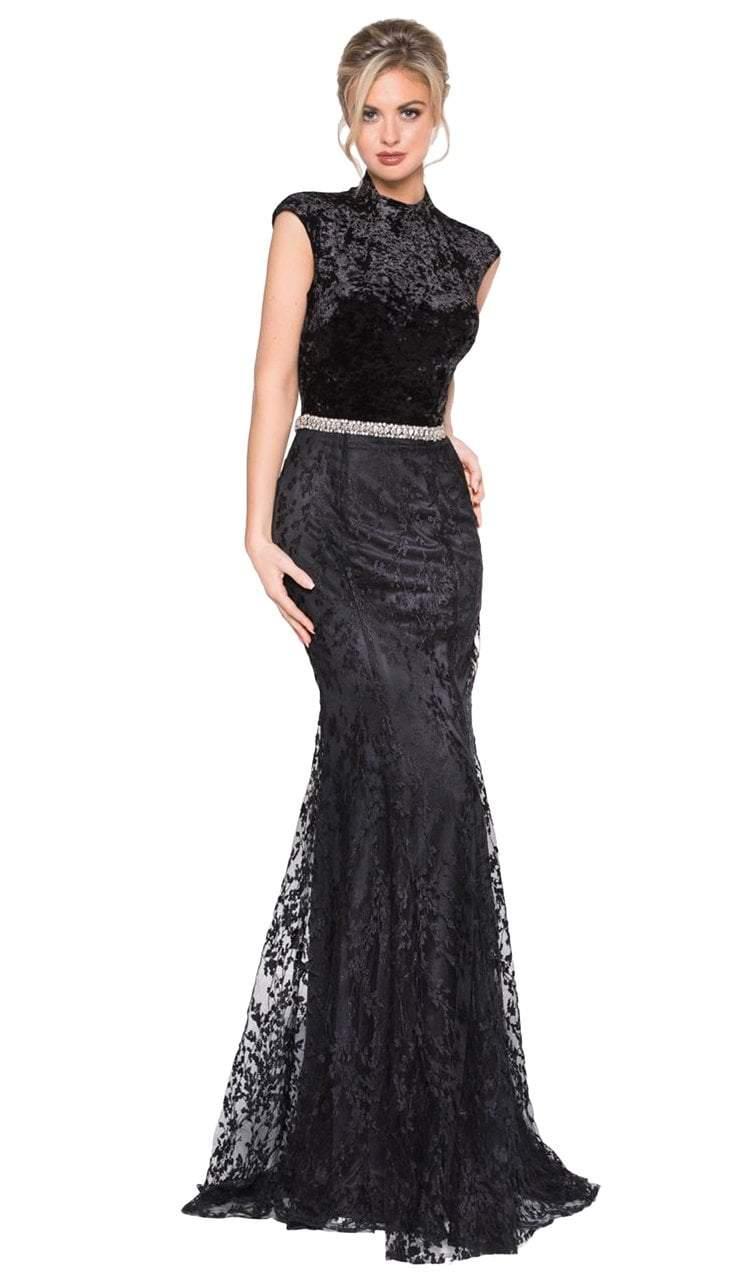 Colors Dress - 2001 Velvet High Neck Lace Trumpet Dress