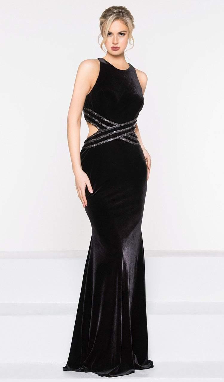 Colors Dress - 2029 Halter Neck Velvet Trumpet Dress