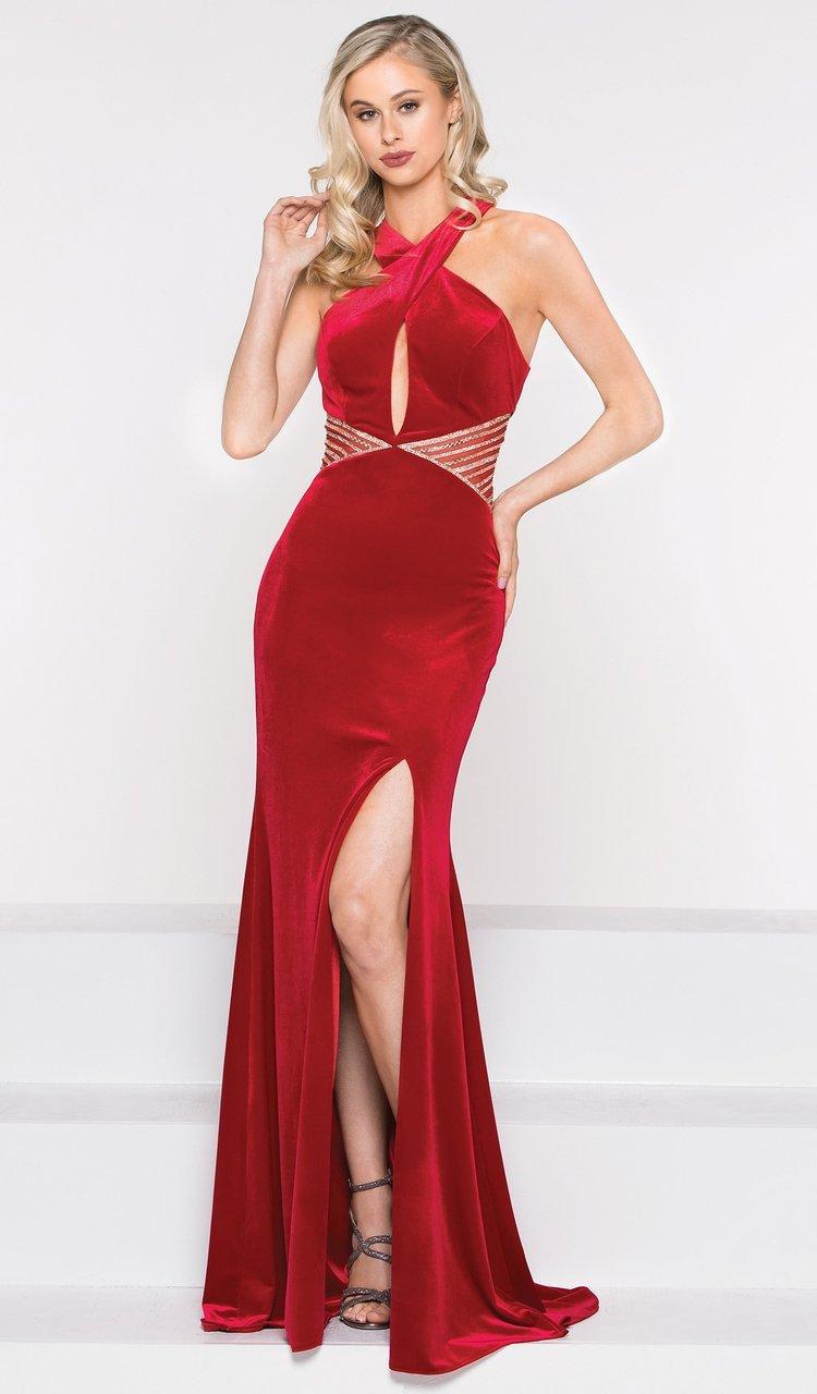 Colors Dress - 2030 Crossed Halter Velvet Trumpet Dress