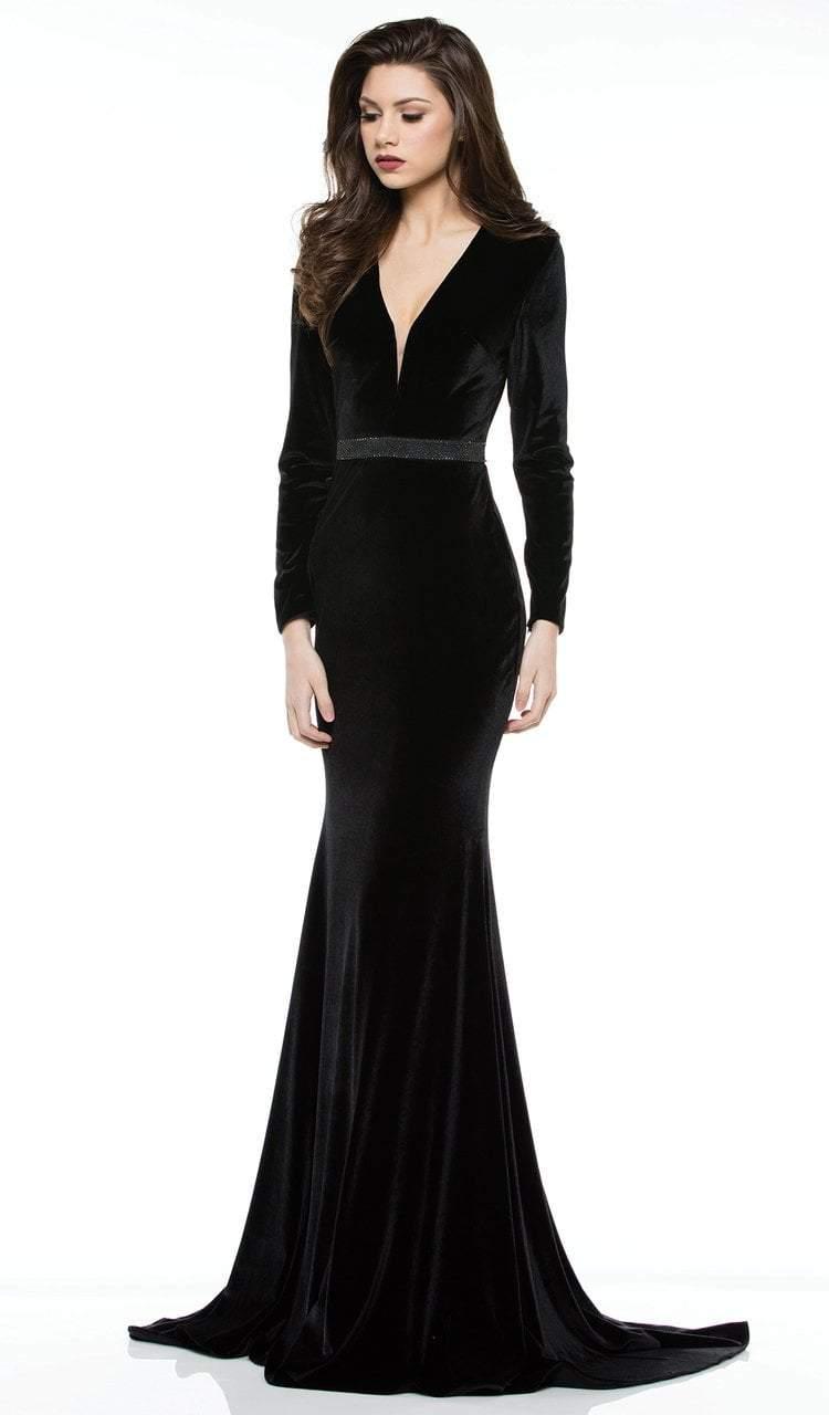 Colors Dress - 2033 Embellished Deep V-neck Velvet Trumpet Dress