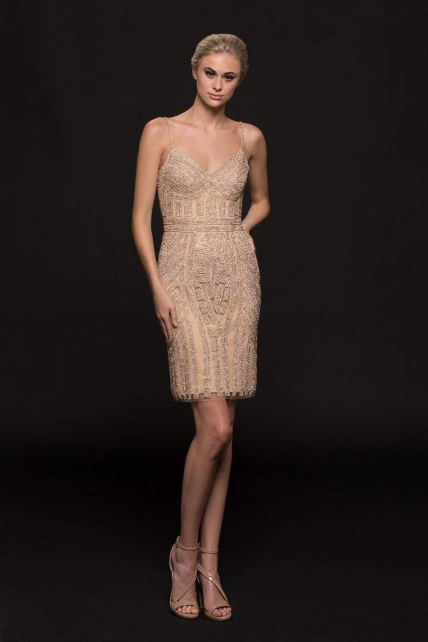 Glow by Colors - G664S Embellished V-neck Sheath Dress