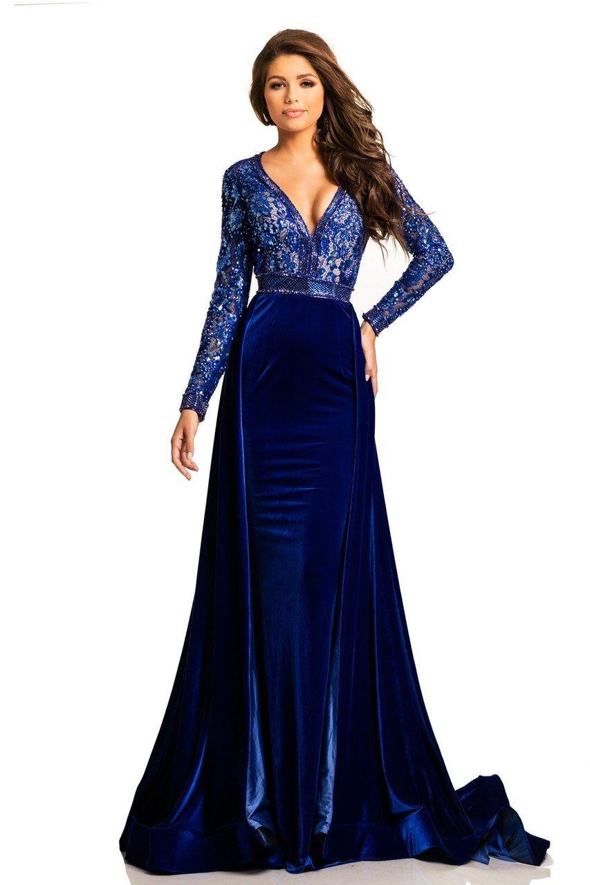 Johnathan Kayne - 8013 Embellished Lace Velvet Gown