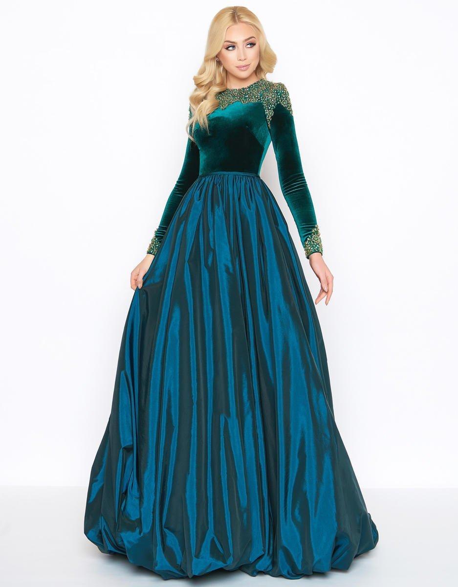 Mac Duggal - 12088D Beaded Velvet Long Sleeve Jewel Neck Ballgown