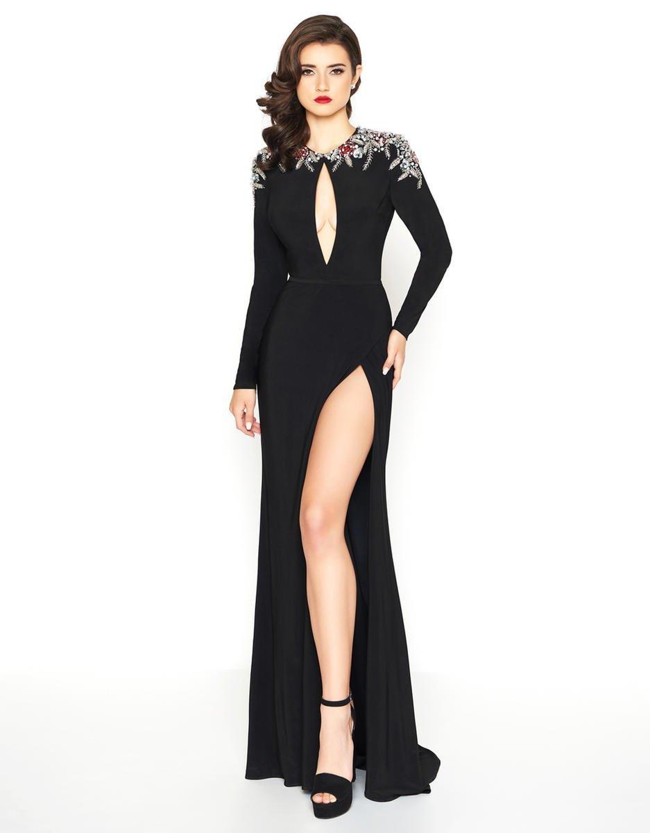 Mac Duggal - 12103R Sequin and Beaded Long Sleeve Jewel Sheath Dress