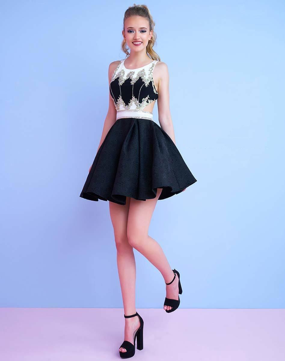 Mac Duggal - 40724N Beaded Scoop Neck A-Line Dress