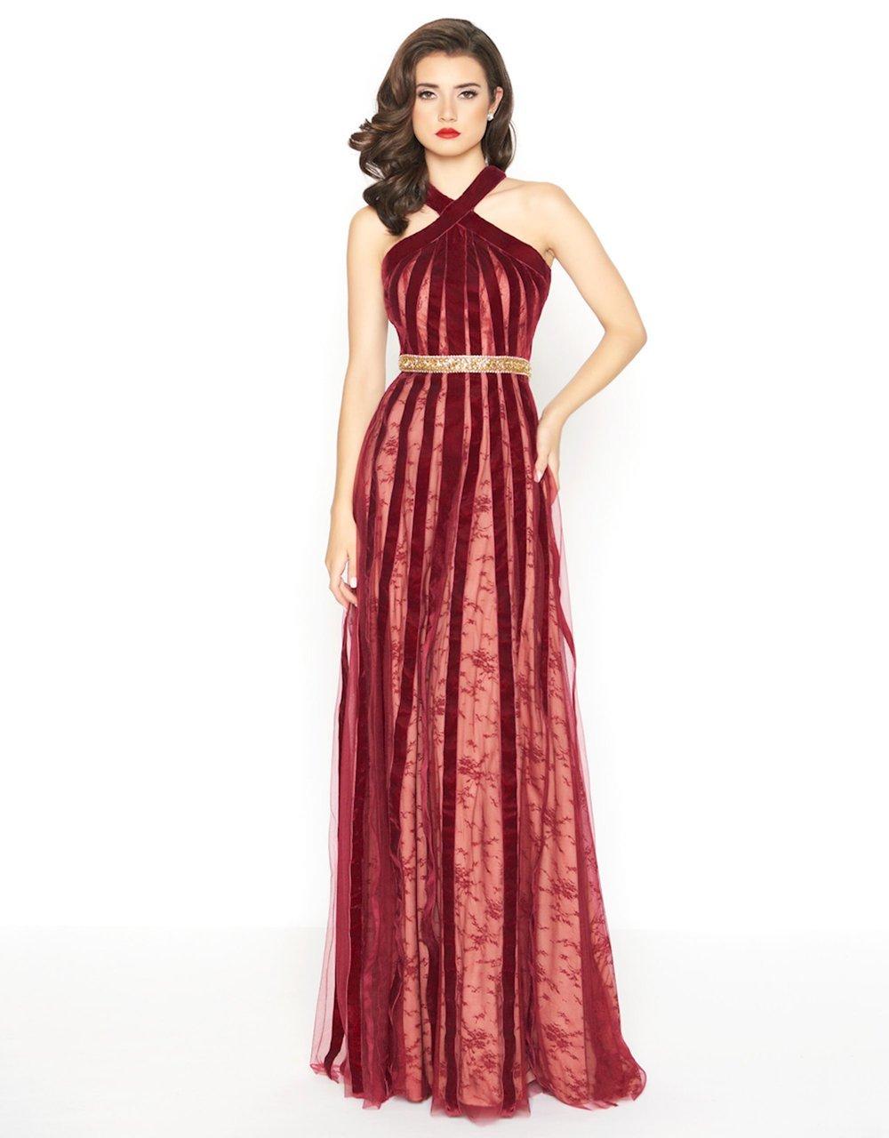 Mac Duggal - 40876R Halter Velvet A-Line Evening Gown