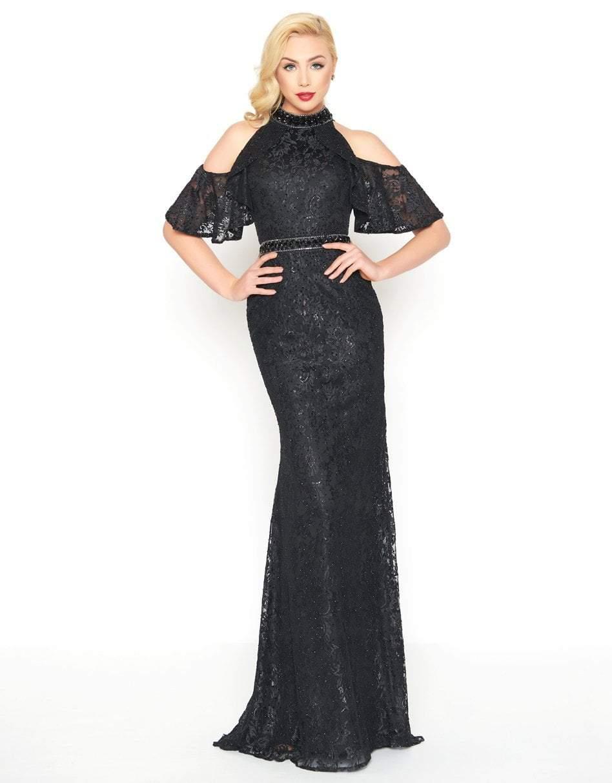 Mac Duggal - 40877R Lace Applique Cold Shoulder Evening Dress