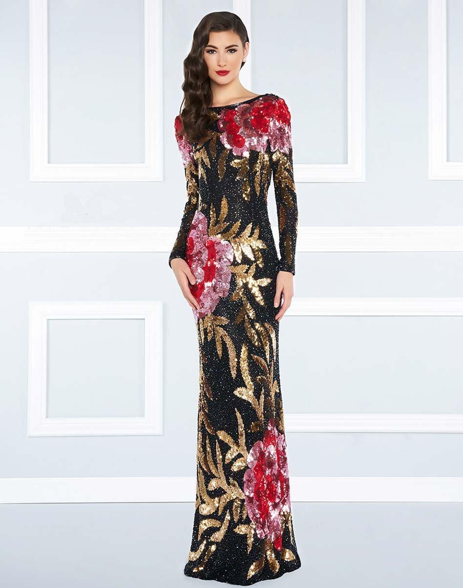 Mac Duggal - 4566R Bateau Multi-Color Long Dress