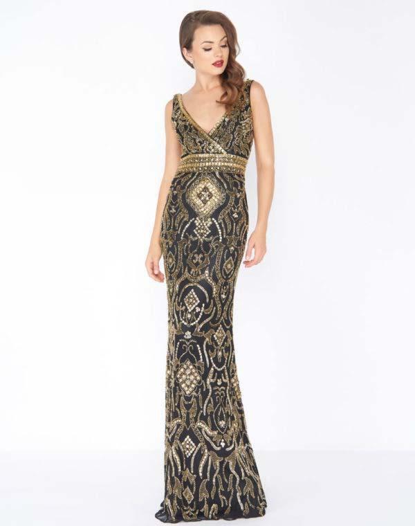 Mac Duggal - 4595R Gold Embellished V-neck Sheath Dress