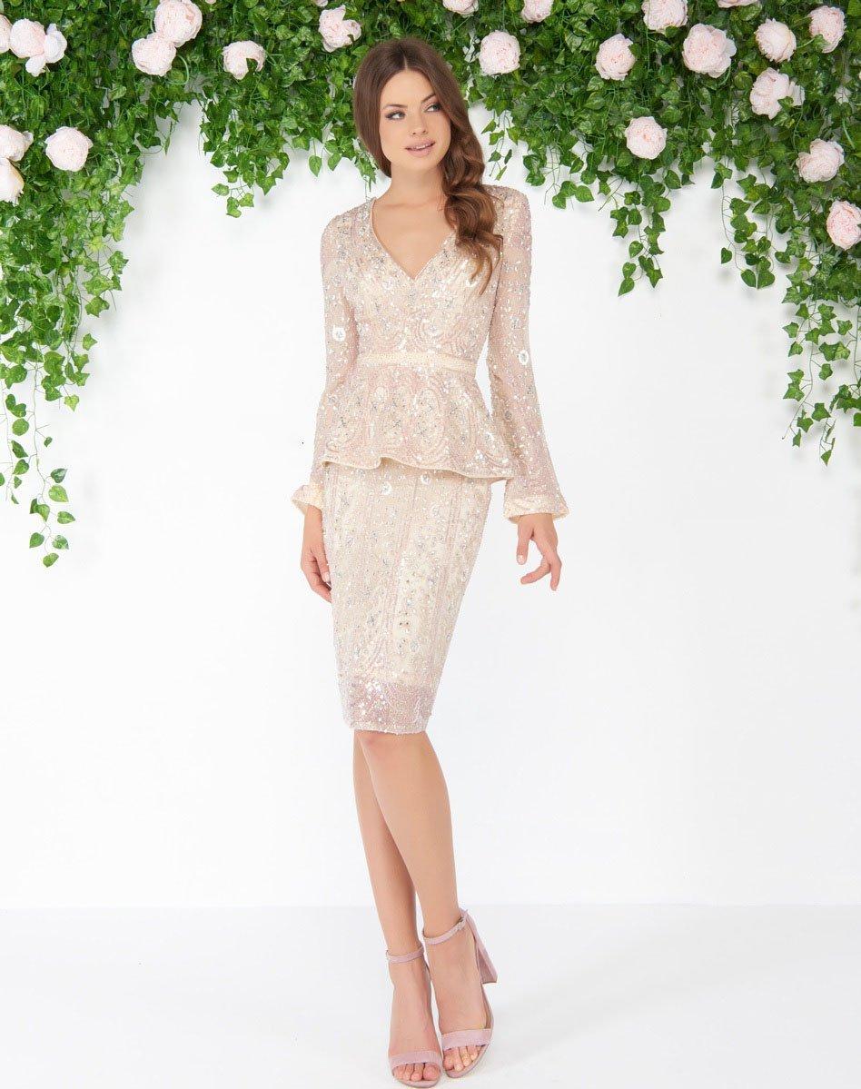 Mac Duggal - 4600D Long Sleeve Floral Sequined Peplum Dress