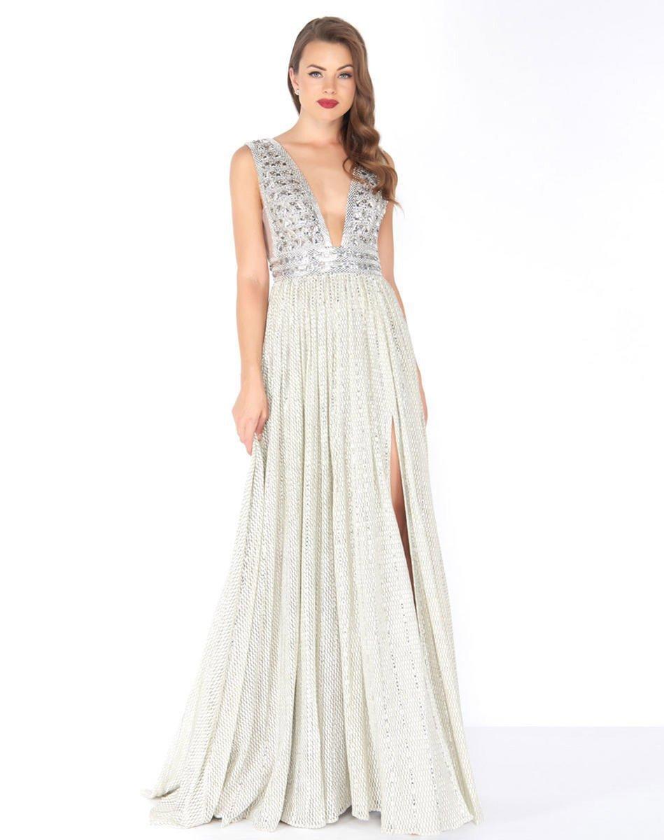 Mac Duggal - 50458R Shimmering Plunging Chiffon Evening Dress
