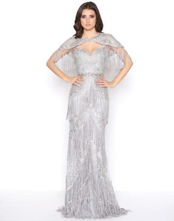 Mac Duggal - 50500D Embellished Fringed Sheath Evening Gown
