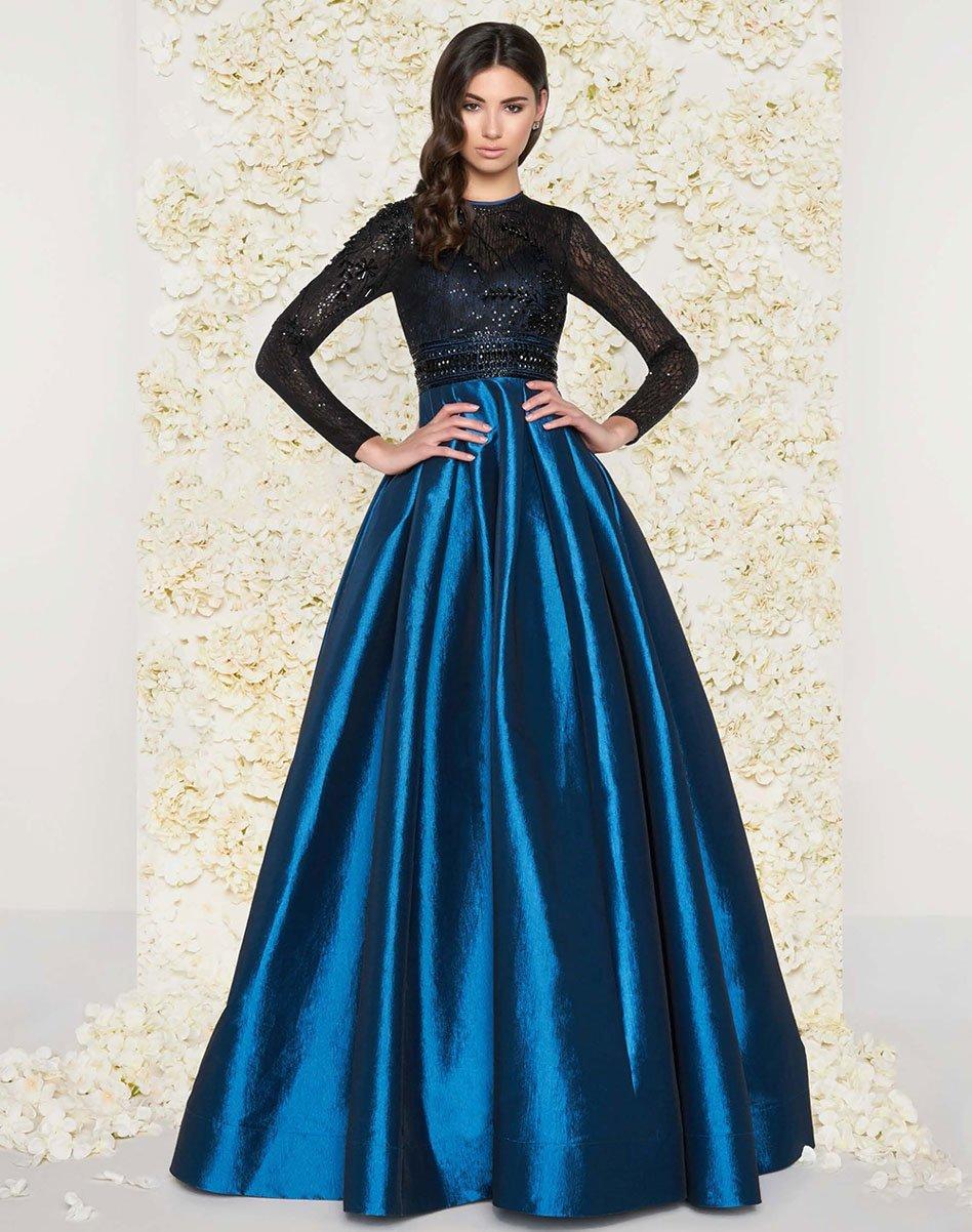 Mac Duggal - 62883D Long-Sleeved Beaded Lace Shiny Dress