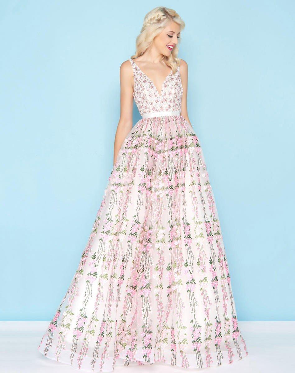 Mac Duggal - 66319H Sleeveless V-Neck Embellished Open Back Gown