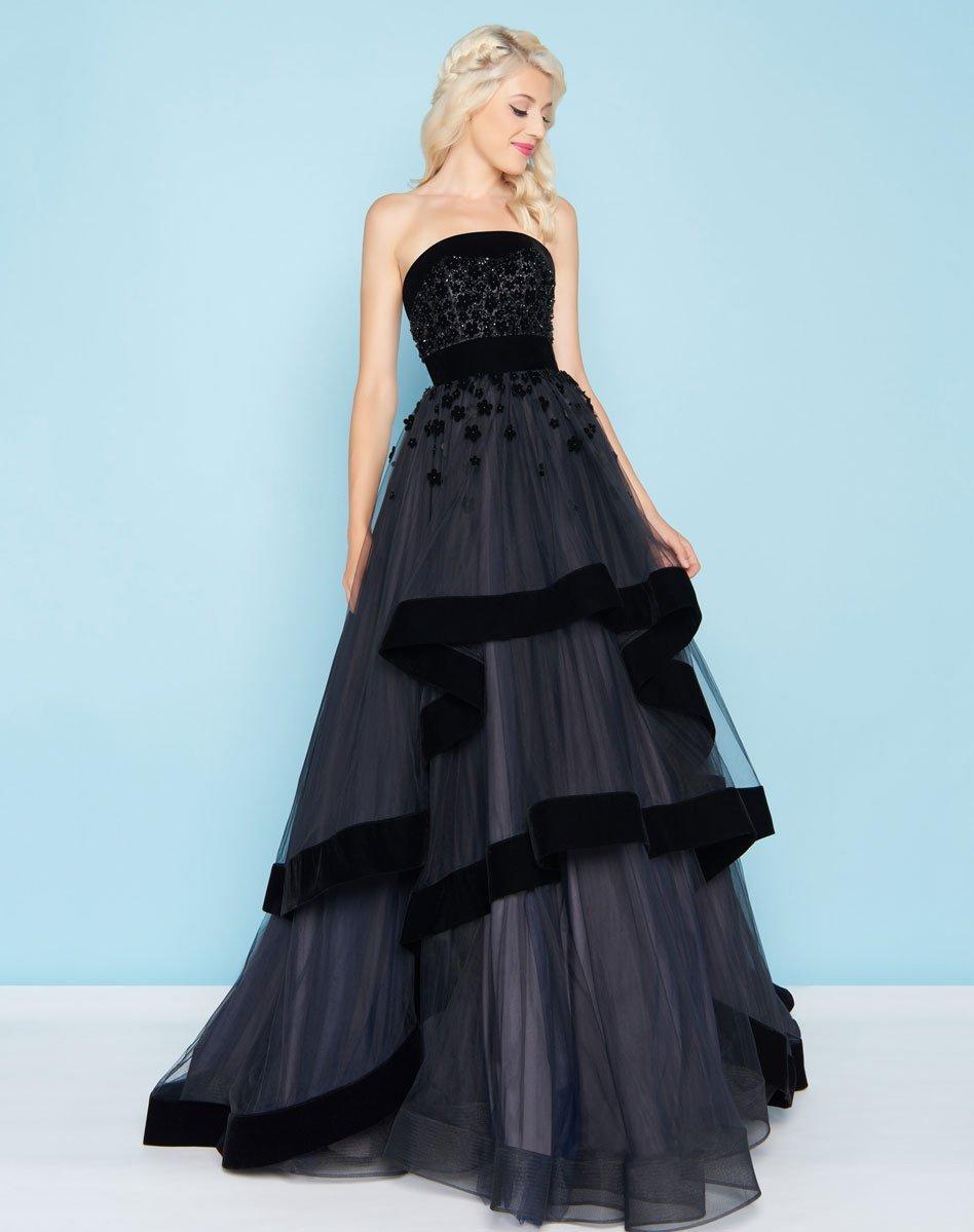 Mac Duggal - 66346H Velvet Trimmed Strapless Tiered Evening Gown
