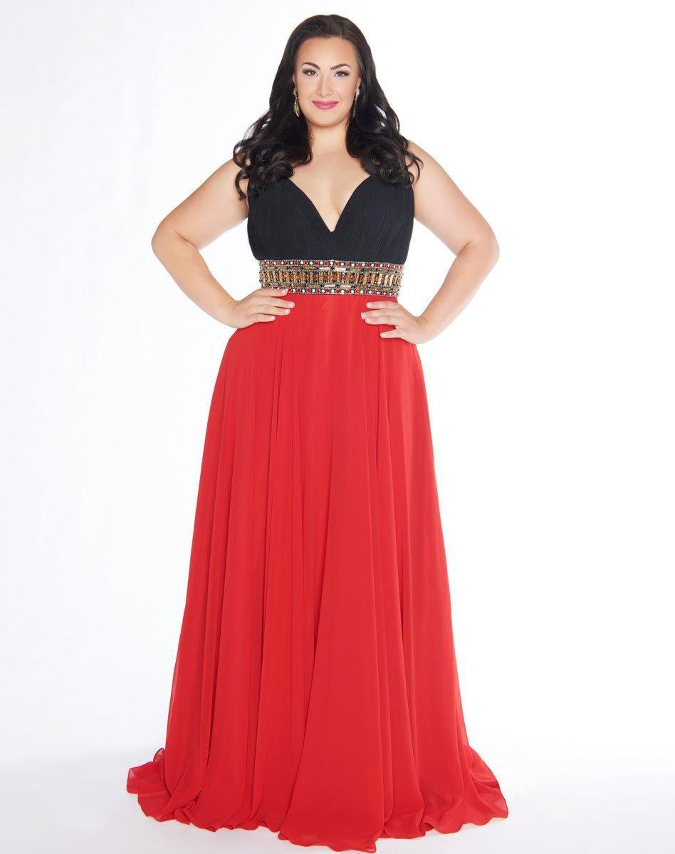Mac Duggal - 66410F Deep V-Neck A-line Chiffon Gown