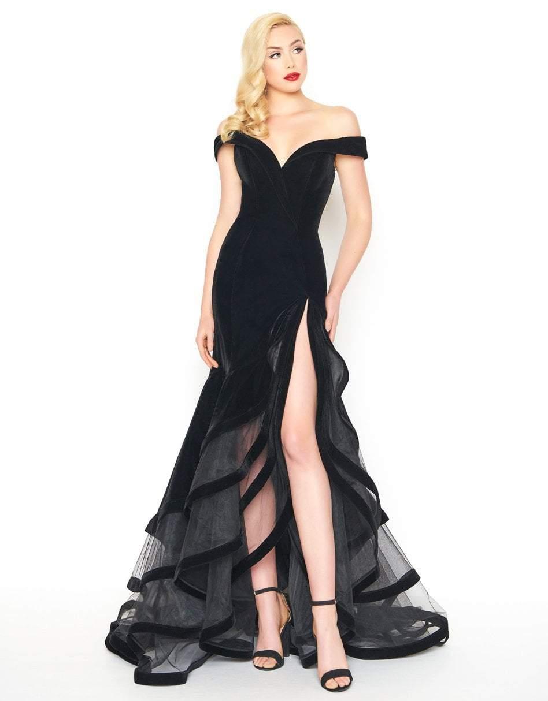 Mac Duggal - 66586R Velvet Off-Shoulder Layered Trumpet Dress