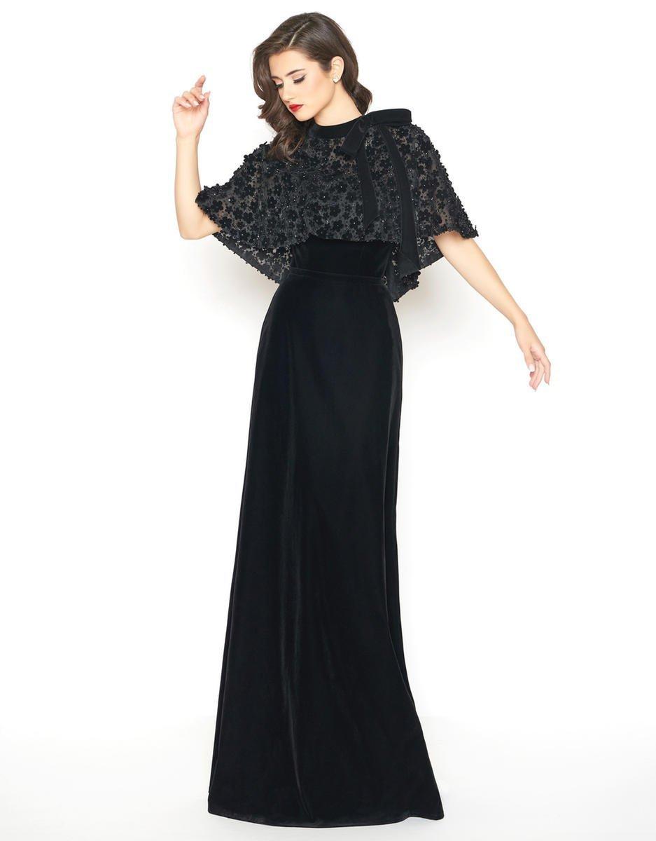 Mac Duggal - 66590R Floral Embroidered Caplet High Neck Sheath Dress