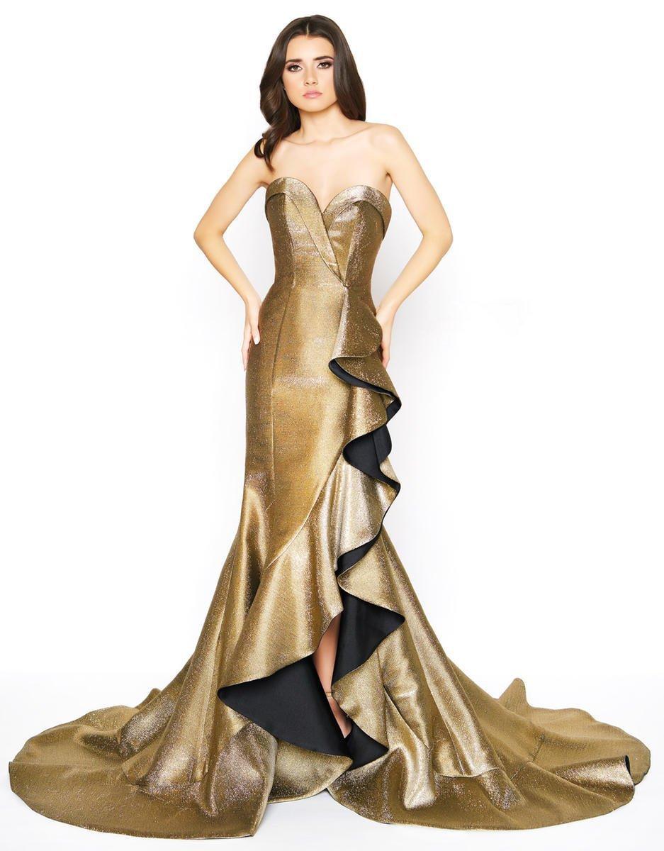 Mac Duggal - 67662D Metallic Strapless Ruffled Trumpet Dress