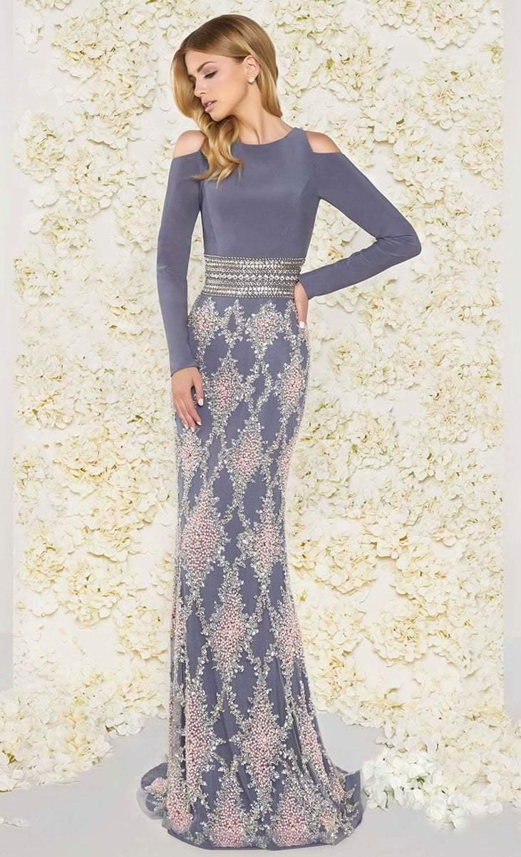 Mac Duggal - 77215D Long Sleeve Cold Shoulder Evening Dress