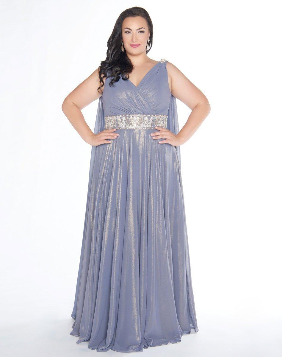 Mac Duggal - 77310F V-Neckline Metallic A-line Gown