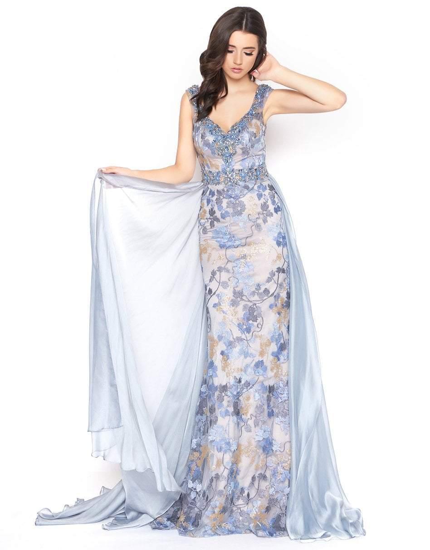 Mac Duggal - 79197D Embroidered V-neck Sheath/A-line Dress