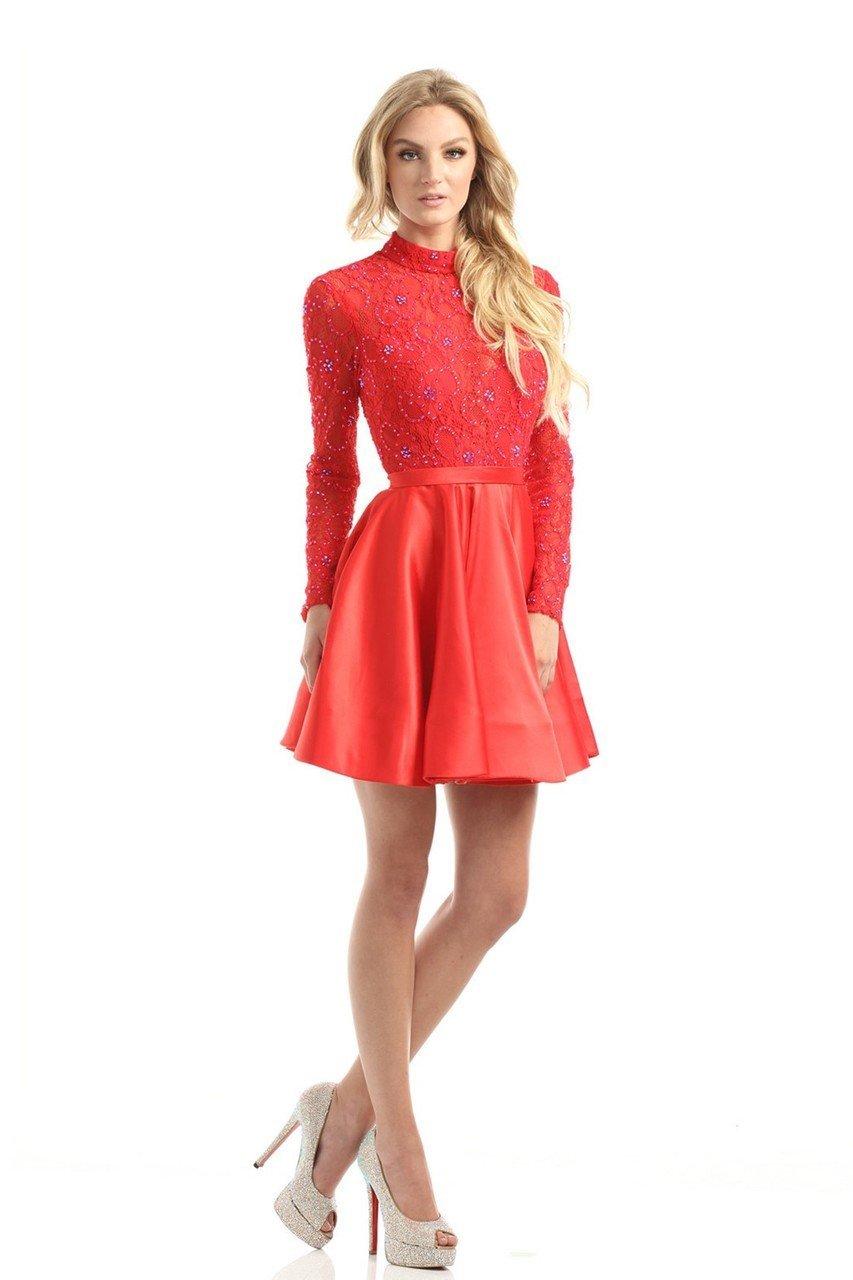 Johnathan Kayne - 5000 Long Sleeve Embellished A-Line Dress
