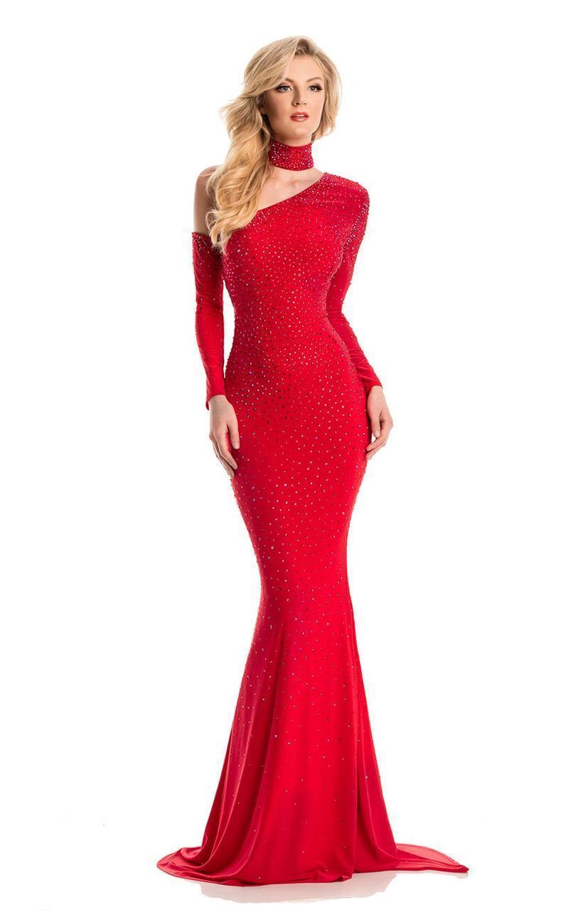 Johnathan Kayne - 7215 Embellished Asymmetric Trumpet Dress