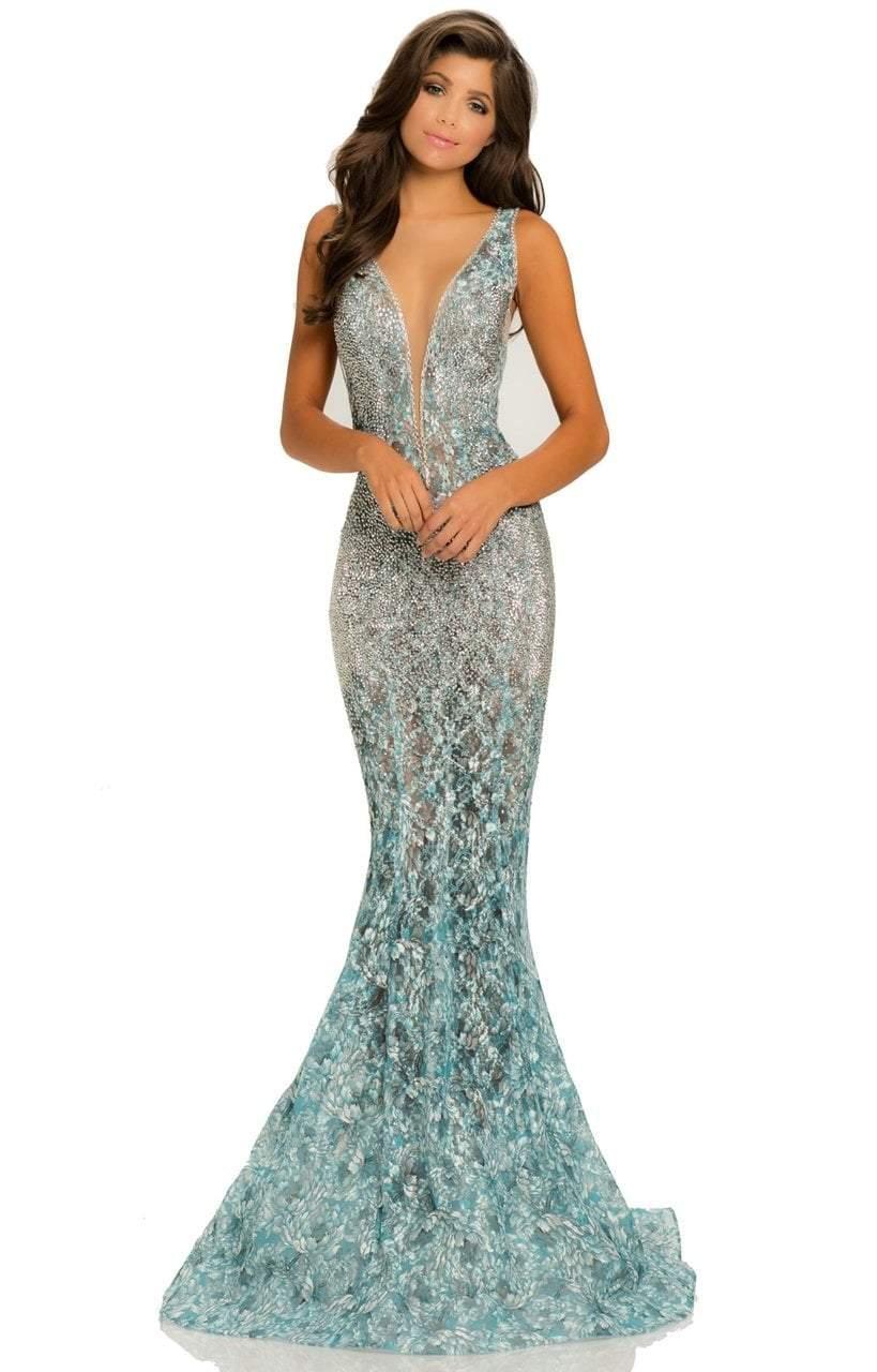 Johnathan Kayne - 8031 Deep V-Neck Ornate Lace Mermaid Gown
