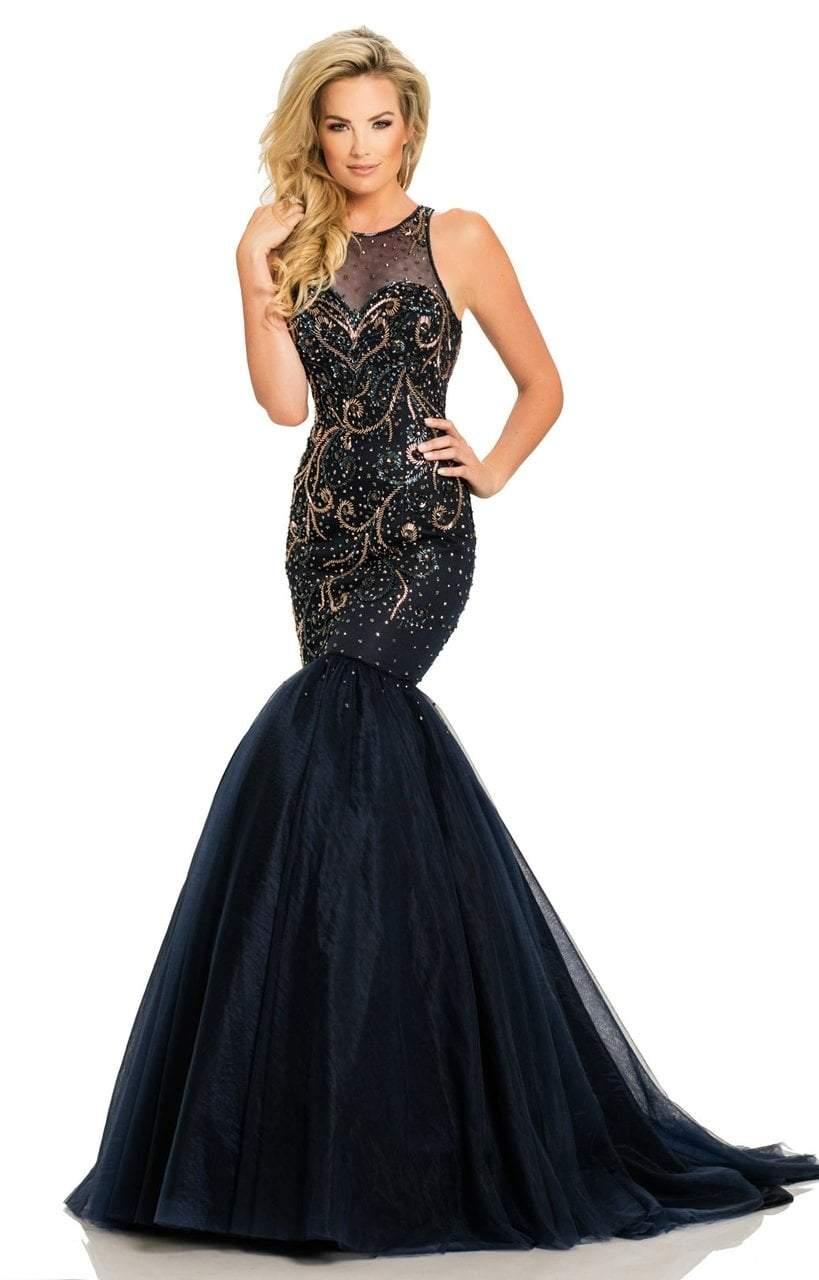 Johnathan Kayne - 8095 Sleeveless Scroll Motif Illusion Evening Gown