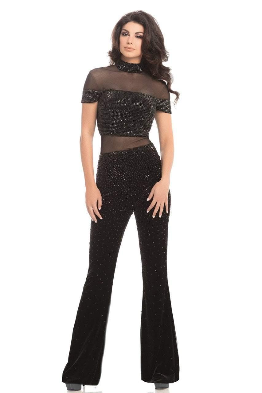 Johnathan Kayne - 8202 Dazzling Crystal Encrusted Velvet Jumpsuit