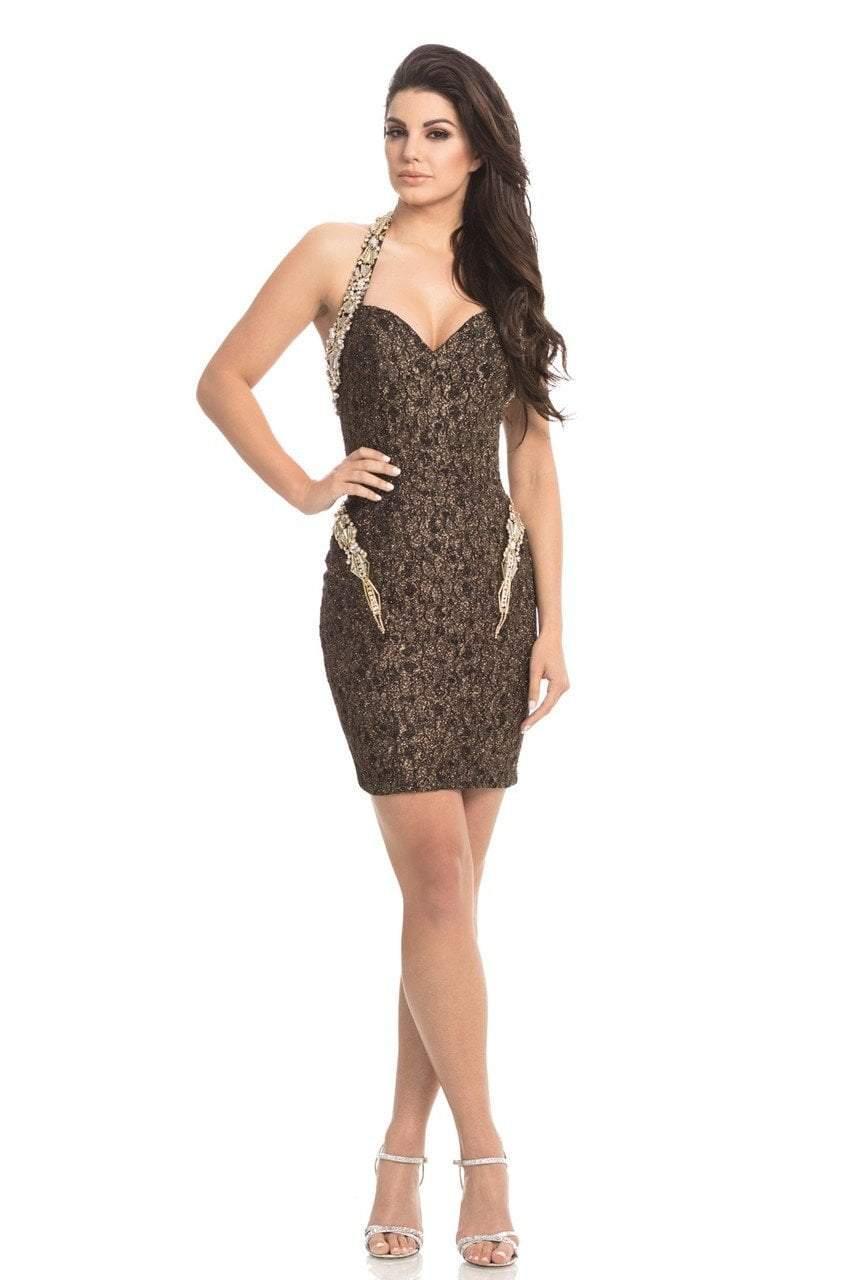 Johnathan Kayne - 8224 Beaded Lace Halter V-neck Sheath Dress