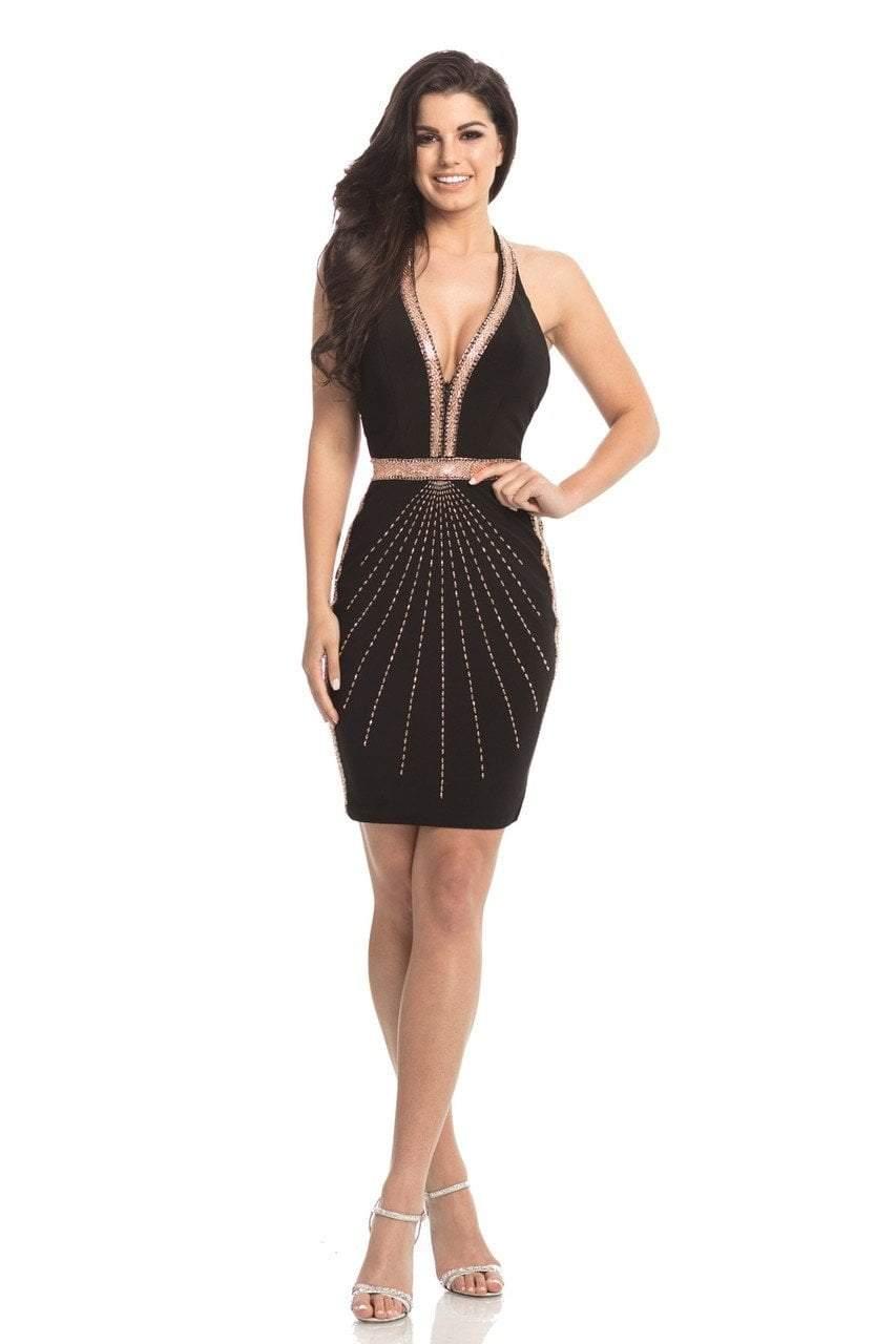 Johnathan Kayne - 8233 Embellished Deep Halter V-neck Cocktail Dress