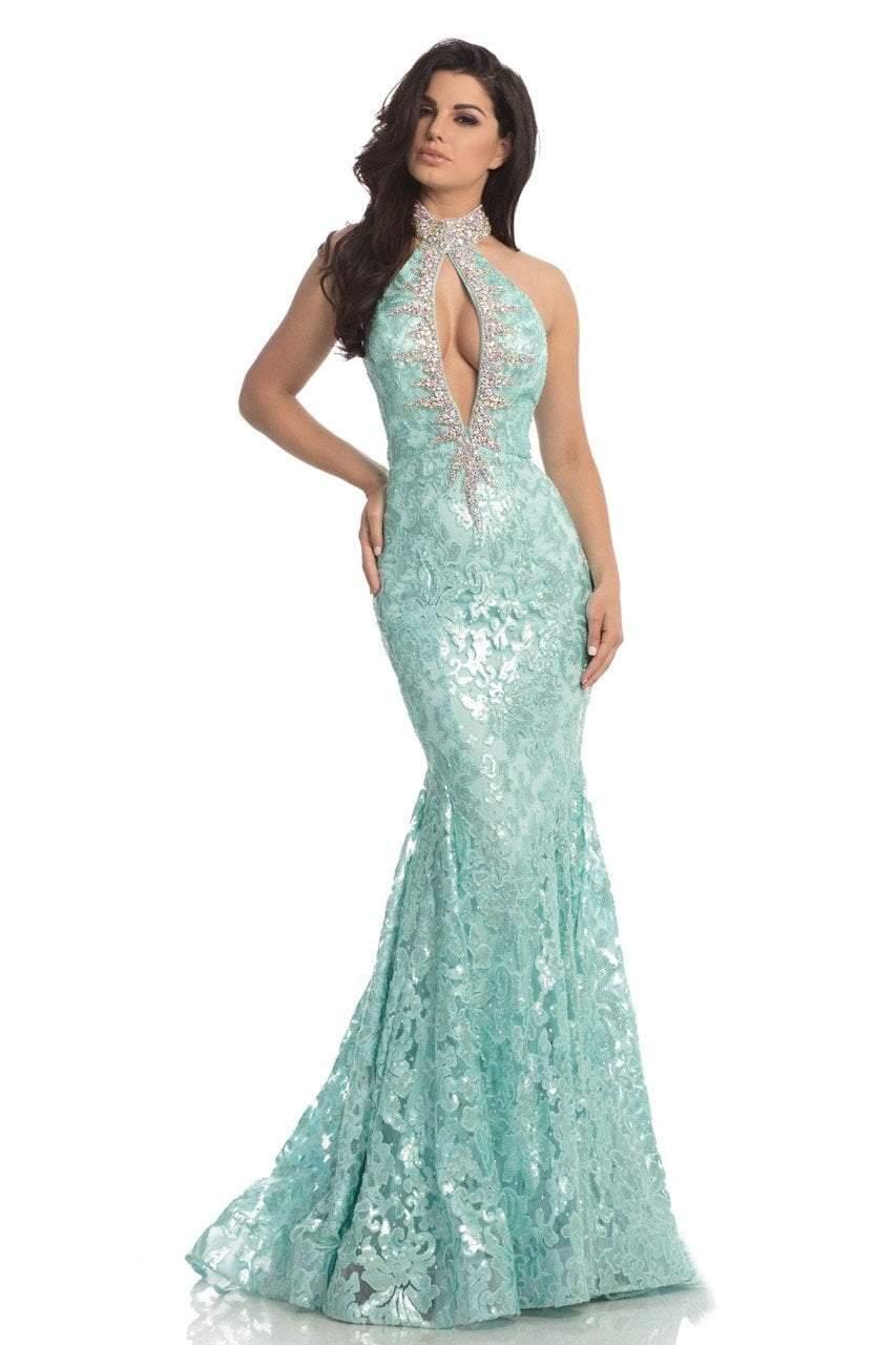 Johnathan Kayne - 8239 Sequined Lace High Halter Mermaid Dress