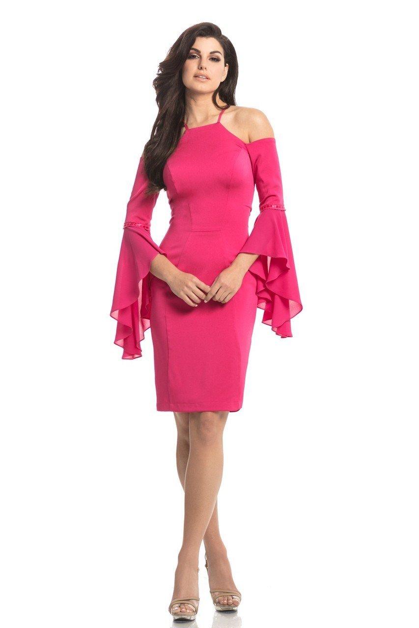 Johnathan Kayne - 8246 Embellished Halter Sheath Knee Length Dress