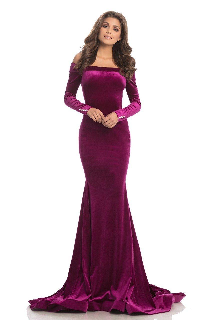 Johnathan Kayne - 8247 Long Sleeve Off-Shoulder Velvet Mermaid Gown