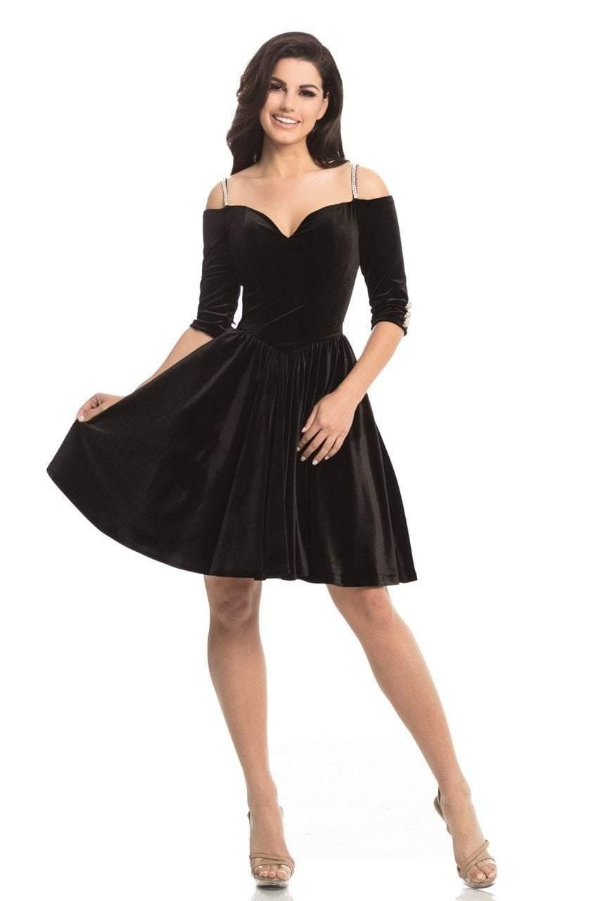 Johnathan Kayne - 8248 Embellished Stretch Velvet Aline Cocktail Dress